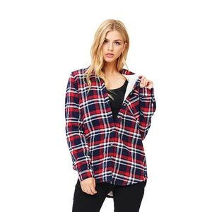 Ambiance Apparel Sherpa Lined Plaid Top